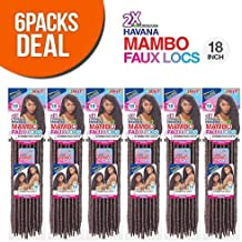 """Janet Collection Synthetic Hair Crochet Braids 2X Havana Mambo Faux Locs 18"""" (6-Pack, 350)"""