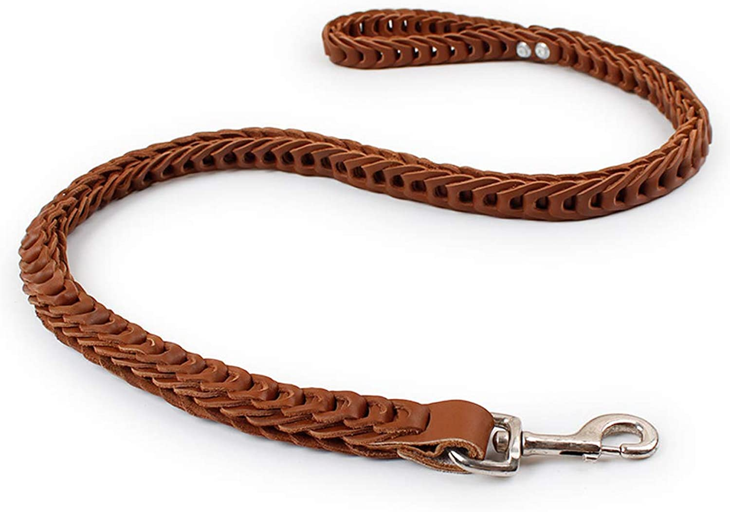 Length 130cm Leather Dog Leash Braided Heavy Duty Training Leash for Large Medium Small Dogs Running and Walking (color   Brown, Size   130cm)