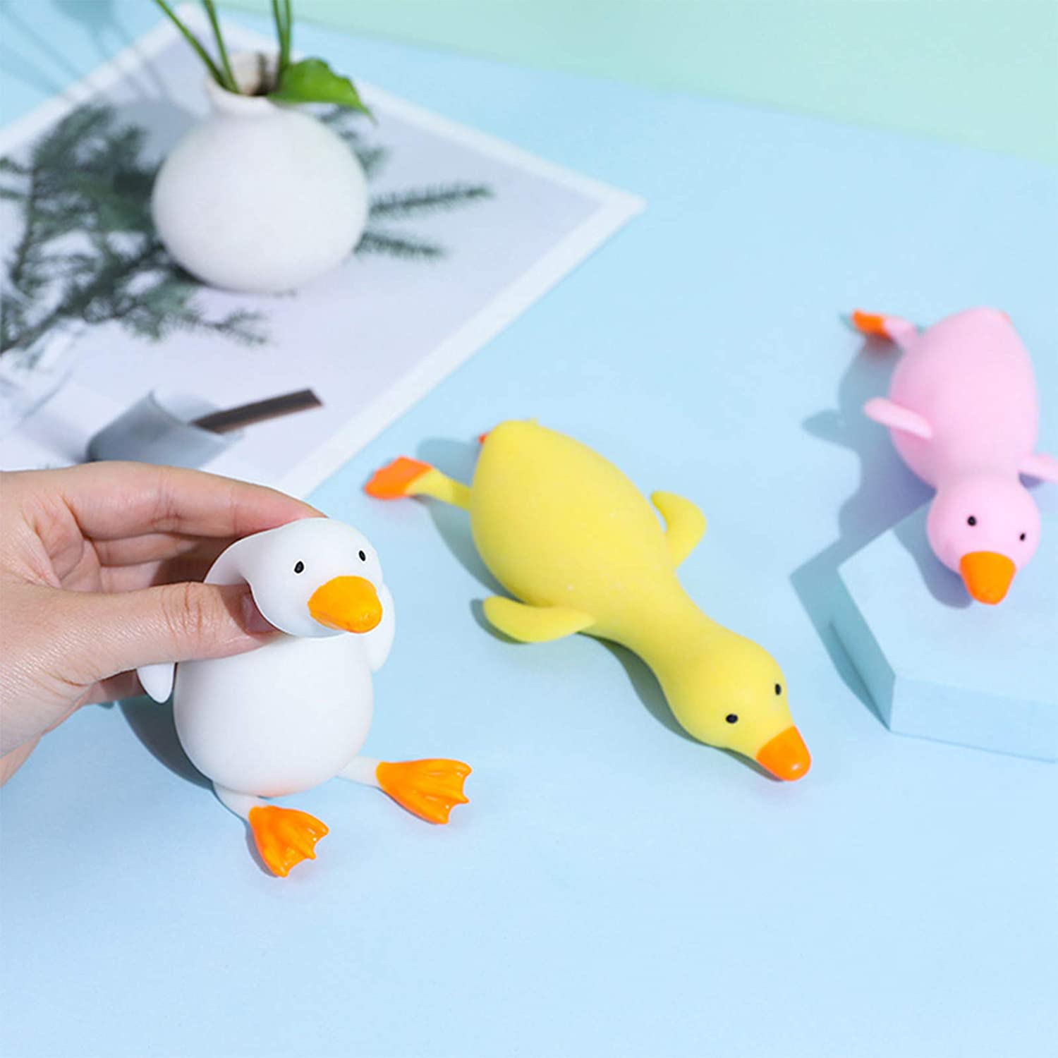 White BULINGNA Stress Relief Squishy Animal Toy Miniature Squeeze Pull Plastic Novelty Fidget Duck for Adults and Kids with Anxiety Autism