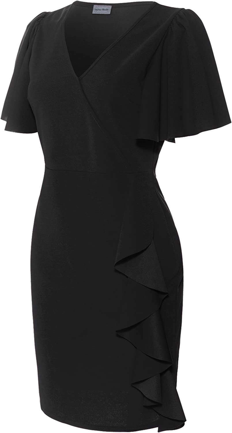 Instar Mode Women's Elegant Ruffled Evening Party Bodycon DressMade In USA