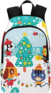 Christmas Landscape Cute Animals Childish Casual Daypack Travel Bag College School Backpack for Mens and Women