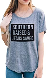 Womens Southern Raised Jesus Saved Letter Print T-Shirts Short Sleeve Funny Cute Tees Tops