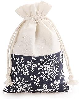 Aspire 60 Pieces Floral Linen Favor Bag, Gift Bags, 4 x 5-1/2 Inch-Beige