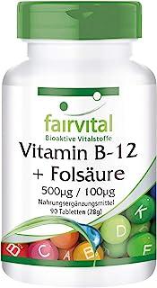 Vitamina B12 con Ácido Fólico - Metilcobalamina sublingual 500µg + Vitamina B9 100µg - VEGANA - 90 Comprimidos - Calidad Alemana