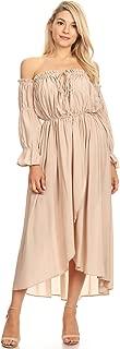 Womens Casual Boho Long Sleeve Off Shoulder Renaissance Peasant Dress