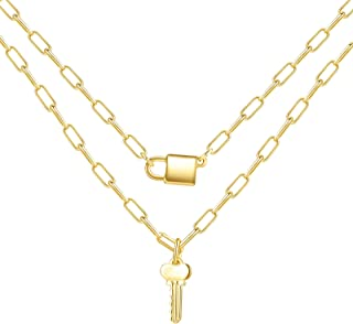 LANE WOODS Dainty Layered Necklaces for Women: 18K Gold Plated Trendy Lock Key Pendant Necklaces Layering Gold Choker Neck...