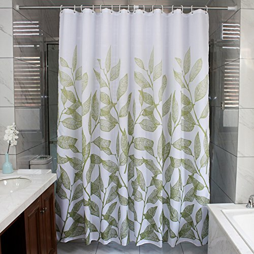 Ufaitheart 72 by 75-Inches Girl's Shower Curtain Fabric, Modern Fashion Decorative Shower Curtain Polyester, Green Branches and Leaves on White Background