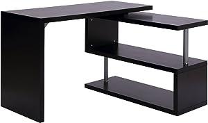 Homcom Bureau Informatique Table Informatique modulable avec bibliothèque adjacente Design Contemporain mélaminé métal chromé Noir