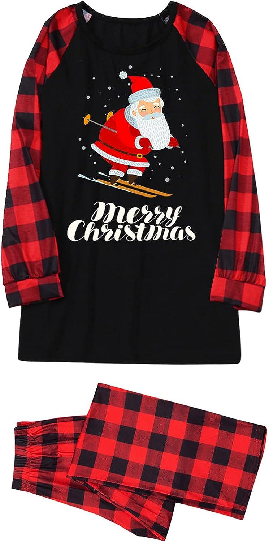 Goldweather Christmas Family Matching Pajamas Santa Claus Plaid Long Sleeve Pjs Sets Parent-Child Suit Xmas Sleepwear Outfit