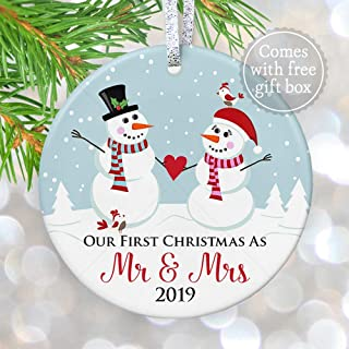 First Christmas as Mr & Mrs 2019 Ornament, Personalized 1st Married Christmas Ornament Snowmen, Married Couple Christmas Gift - 3