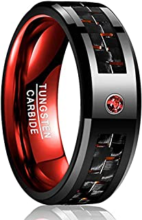 VAKKI 8mm Men`s Red/Blue/Black Tungsten Carbide Rings with CZ Inlay Carbon Fiber Wedding Band Beveled Edge Comfort Fit Size 6-15