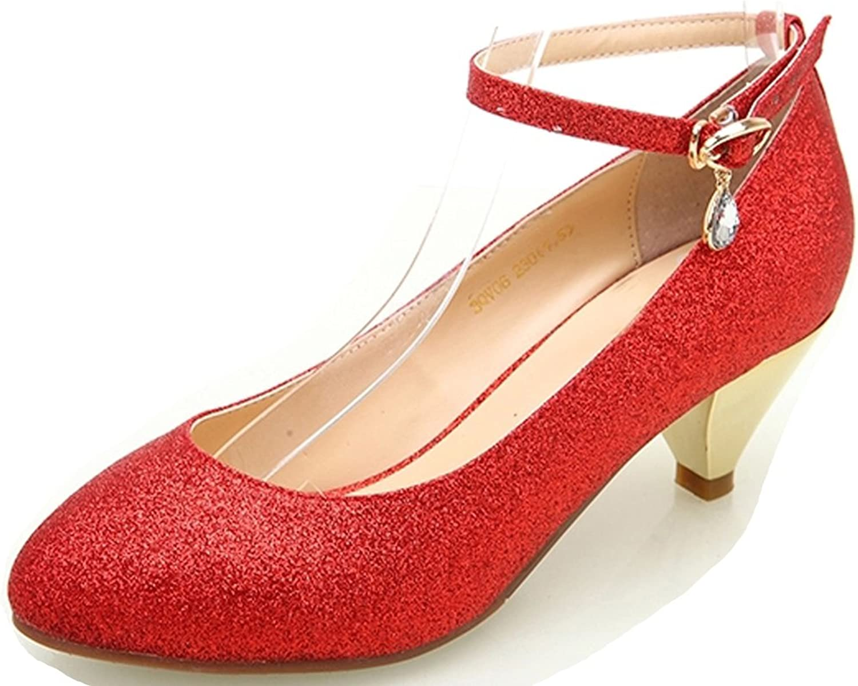 YooPrettyz Women golden Kitten Heel Round Toe Wedding Low Heel Pump Ankle Strap Dress Heels