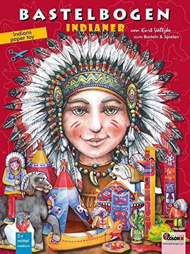 Hoja de manualidades indias con tipis, tótems, canoa, hoguera y caballos para recortar, manualidades con niños a partir de 6 años papertoys juguetes ... 3d bespielbares Indianerdorf zum Ausschneiden