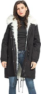 Choies Women's Black/White Hooded Winter Parka Coats Detachable Faux Fur Outdoor Coat