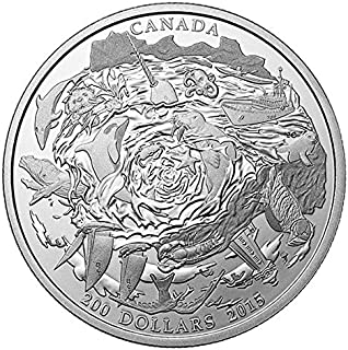 2015 Special Mint Coastal Waters $200 Pure Silver Canadian Coin from the Royal Canadian Mint 50mm Brilliant Uncirculated
