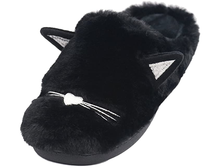 意味ミルク靴duuluup レディース ボアスリッパ ファースリッパ 猫柄スリッパ ハウススリッパ ルームスリッパ ルームシューズ 室内履き替え 保温 厚手
