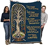 The Viking Prayer - Tree of Life - Norse - Cotton Woven Blanket Throw - Made in The USA (72x54)