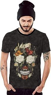 Camiseta Floral Caveira em Flores Coloridas Grafite