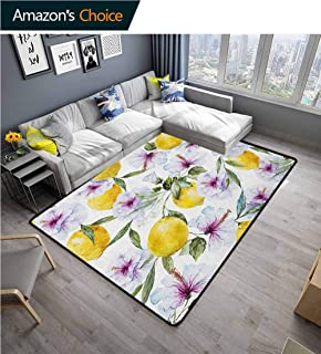 Spring Print Area Rug Underlay, Flowers Lemons Essence Refreshing Agriculture Harvest Aroma Organic Watercolor Art, Durable Rugs - Living, Dinning, Office, Rooms & Bedrrom, Hallway Carpet(2.5'x 9')