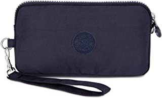 Sumcoa Womens Multi-purpose Canvas Casual Waterproof Nylon Wristlet Clutch bag Handbag Zipper Purse Cell Phone Money Pouch Wallet (Deep blue)