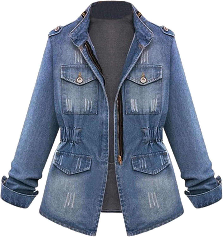 Women Plus Size Denim Jacket Jeans Tops Long Sleeve Trucker Coat Outerwear Zipper Jeans Coat With Pocket