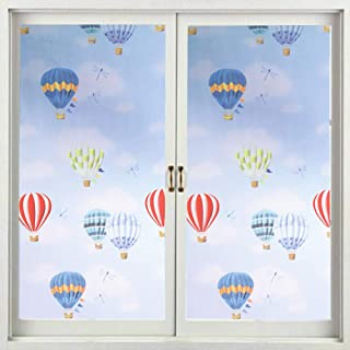 MULLSAN Hot Air Balloon Decorative Window Film Privacy Stained Glass Film No Glue Anti-UV Removable Window Cling Non-Adhesive 17.7''x78.7''