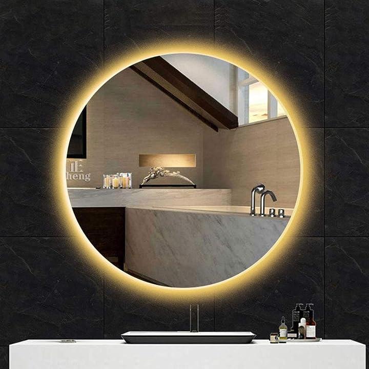Specchio bagno retroilluminato rotondo, specchio cosmetico a led illuminato con luce, a parete,trucco,hd l&ed B08FBCSZ53