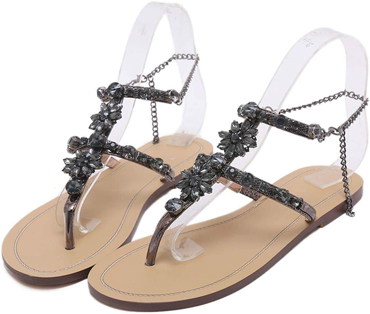 Zipong 2019 Woman Sandals Women shoes Rhinestones Chains Thong Gladiator Crystal Flat Heels Sandals