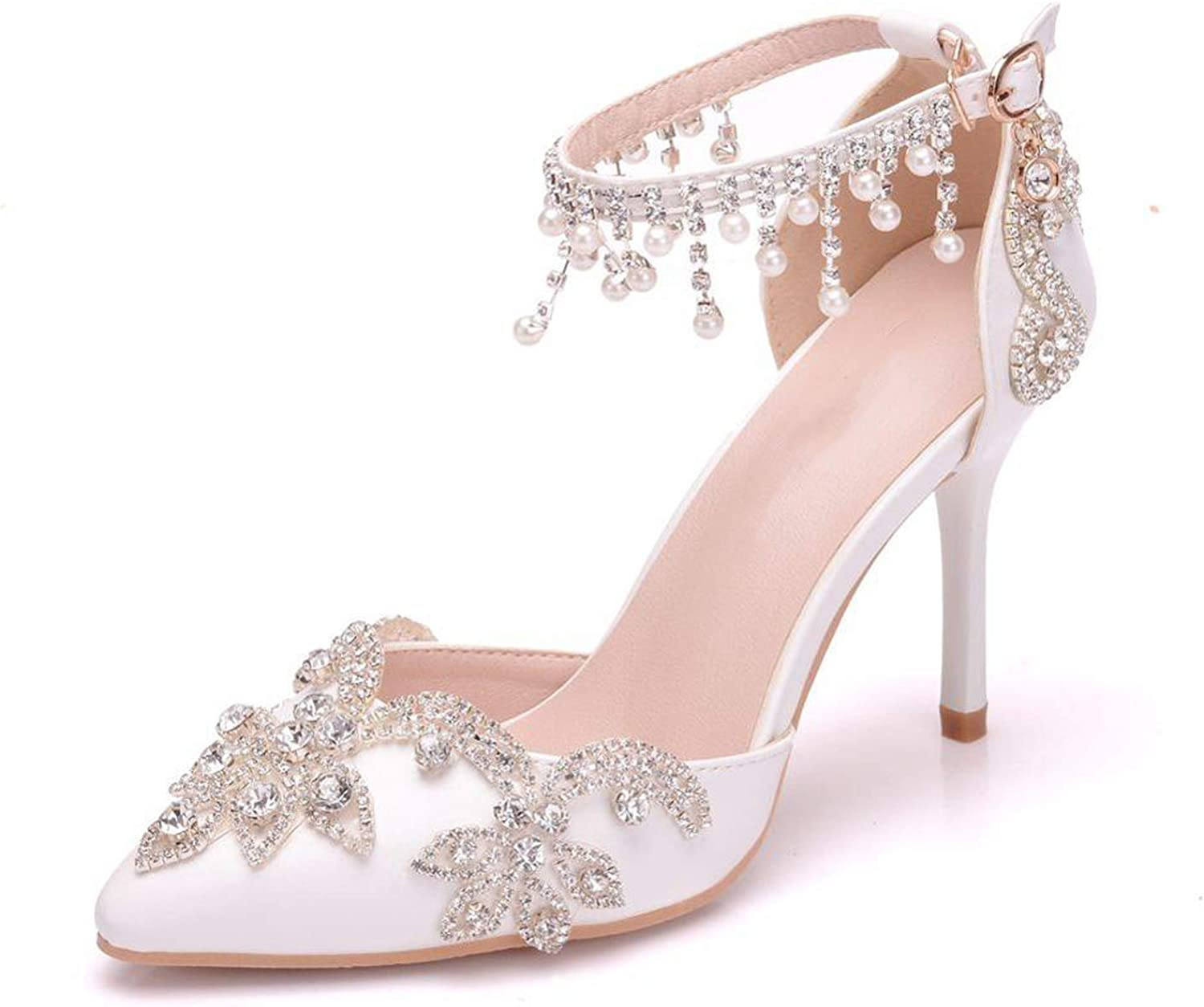 Wedding Thin Heels White Diamond Glittering Evening Dress Sandals Bride shoes Pumps Party