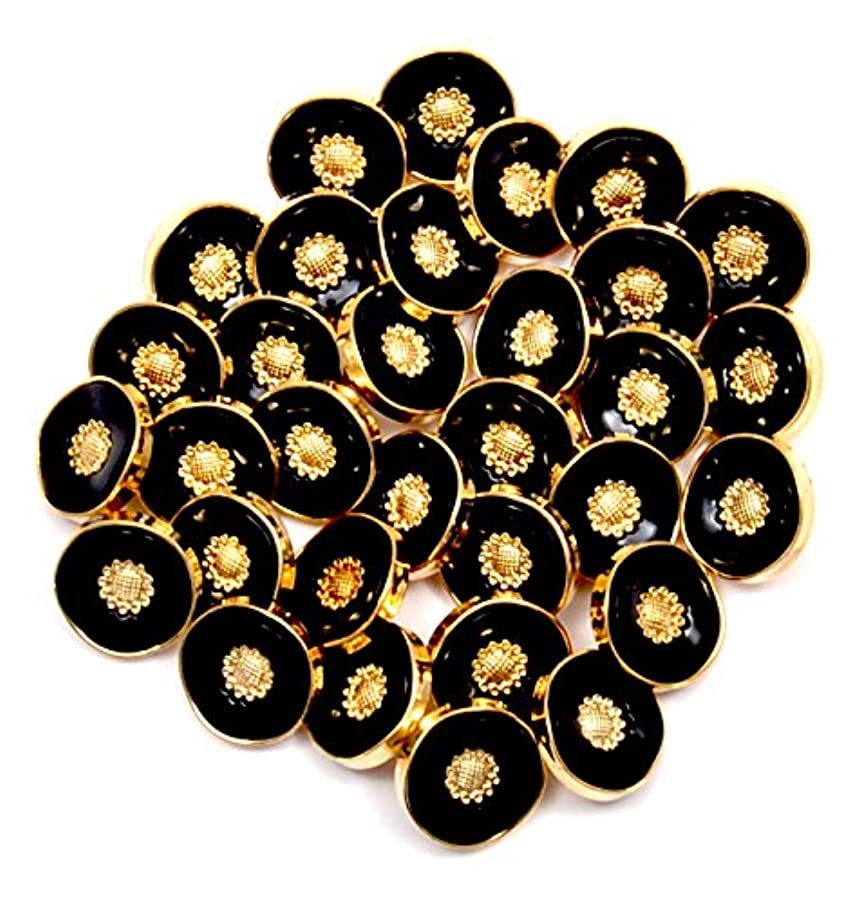 LEDUC Floral Design Buttons, Plastic, Synthetic Material, Black/Brass, Size Lin, 30-Piece, Assorted, 13 x 12 x 1 cm