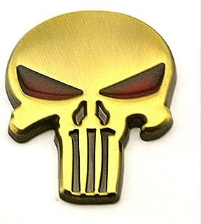 Punisher Skull Skeleton 3D Metal Car Sticker Badge Emblem for Auto Motorcycle Chopper Car Styling (Gold)