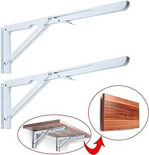 Sumnacon Sturdy Folding Shelf Brackets - Heavy Duty White Metal Triangle Table Bench Folding Shelf Bracket 20 Inch, 2 Pcs Folding Shelf Hinge Wall Mounted