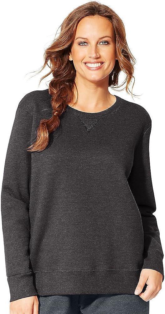 Just My Size by JMS ComfortSoft EcoSmart V-Notch Crewneck Women's Sweatshirt_Slate Htr_2X