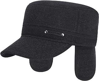 PURFUN Elder Men Woolen Baseball Cap with Earflap Adjustable Dad Hunting Trapper Hat