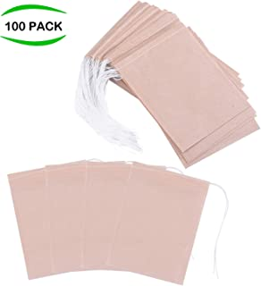 Exptolii Tea Filter Bags, Disposable Tea Infuser with Drawstring for Loose Leaf Tea, 100% Natural Unbleached Paper