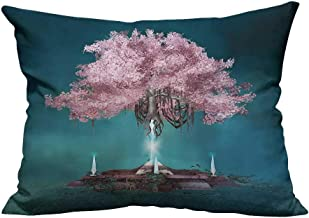 YouXianHome Zippered Pillow Covers Magical Blossom Tree Hanging in The Air Rootless Free Body Plant Supernatural Decorative Couch(Double-Sided Printing) 19.5x30 inch