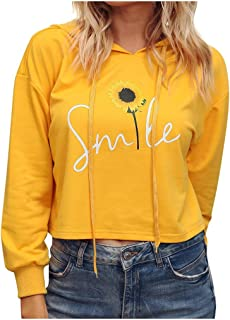 Meikosks Long Sleeve Hoodie Womens Sunflower Printing Sweatshirt Ladies Fashin Casual Blouse