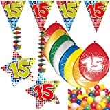 Carpeta 54-teiliges Partydeko Set * Zahl 15 * für Kindergeburtstag oder 15. Geburtstag mit...