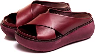 Tricherry Comfy Soft Leather Platform Thick Heel Beach Sandal Slippers for Women
