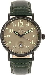 Von Braun Quartz Green Genuine Leather Gunmetal Men's Watch with Date Display ELE112-4