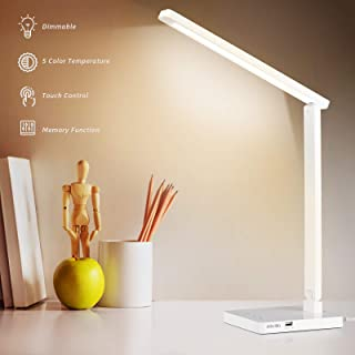 Albrillo Lámpara Escritorio LED - Lámpara de Mesa Regulable y Plegable, 5 Niveles de Brillo y 5 Modos, Puerto USB y Contro...