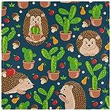 Juego de 4, lindos dibujos animados de erizos, frutas, setas, cactus, servilletas de tela, servilletas de poliéster lavables, servilletas de cena, suaves y reutilizables, para el hogar, Navidad, f