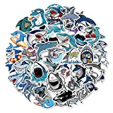 Kaderas 50 Piezas Tiburón Pegatinas VSCO Niños Coche Stickers, Impermeables Vinilo para Bicicleta Botella Monopatín Snowboard Equipaje Portátil