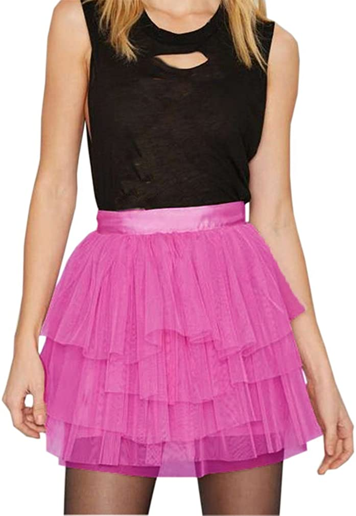 Lisong Women Short Mini Tulle Tiered Layers Party Skirt