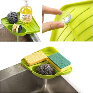 APSOONSELL 水切り 水が流れる トレー 吸盤付/洗剤・ソープ・スポンジ・たわし入れ シンク 用 ホルダー