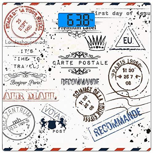 Digitale Präzisionswaage für das Körpergewicht Platz Jahrgang Ultra dünne ausgeglichenes Glas-Badezimmerwaage-genaue Gewichts-Maße,Retro Post Briefmarken Porto Mail Paris antiken künstlerischen Design