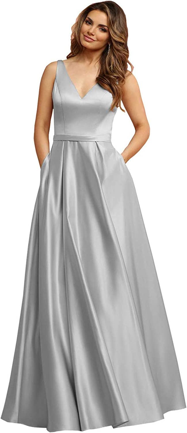 ANGELWARDROBE Women's V Neck Satin Formal Prom Dresses Long Sleeveless Evening Gown with Pockets