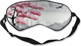 Silk Sleeping Eye Mask for Women & Men, Ultimate Sleep Aid for Travel & Night Sleep (Cherry Blossoms Falling from Hills)