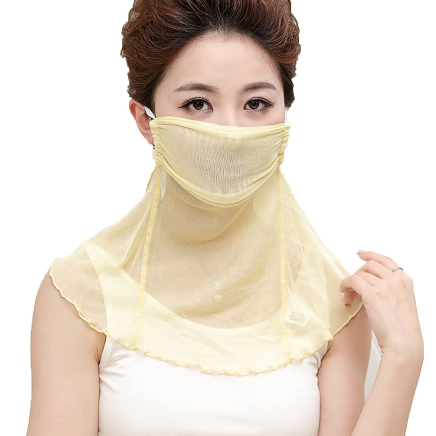 YAKEF Natural Silk mask Scarf Women's Anti-dust Mask Prevent Sun Mask Mulberry Silk Face Veil Small Scarf.