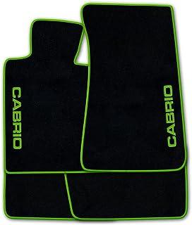 Autoteppich Stylers ATSQ100 CAB002880 Passgenaue Fußmatten in schwarz mit Druck Cabrio seitlich und Rand in Kawagrün